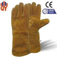 Yellow Kevlar Cow Split Leather Welding Gloves