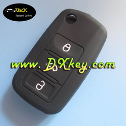 Hot sale for 3 buttons skoda key silicone case for remote control in black