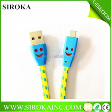 2015 Direst factory colorful micro data cable with 1.2m 1.5m 2m micro data cable for cellphone