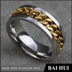 YBH020 Trendy Wedding Ring 2015 Fashion Gold Plated/Ring With Chain In The Center Trendy Ring