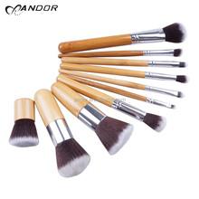 11 pcs cosmetic brush set bamboo handle makeup brushes kit