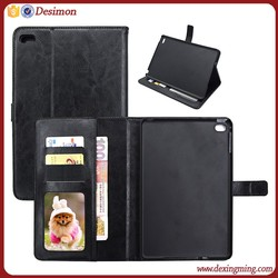 2016 new smart leather case for apple ipad mini with card slots,leather wallet mini case