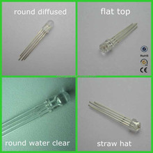 5mm rgb diode led flat top/straw hat/round,etc/ water clear/diffused/hot sale high quality
