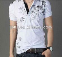 Korea fashion popular men's high quality print polo t shirt