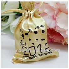 High quality fasionable golden custom-made drawstring satin gift bags