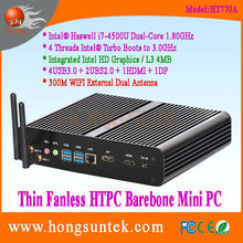 HT770A Intel Haswell i7-4500u 1.8GHz Dual Core with 4 Threads Intel Turbo Boots to 3.0GHz CPU HTPC Fanless Barebone Mini Box-PC