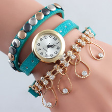 New fashion crystal pendant leather watch wrapped three circles rivets quartz watches for women BWL013