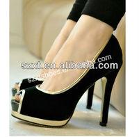 Elegant black suede sex sandals double platform heels beautiful high heel sandals