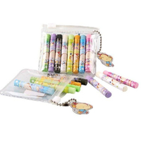 eco-friendly clear PVC pastel pencil pen slide chain packaging cosmetic bag