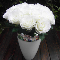 GNW white artificial rose wholesale giant flower with silk rose heads for wedding stage decoration