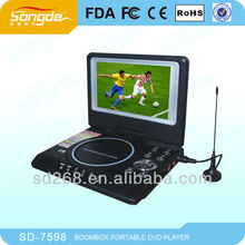 7 inch car portable CD DVD player with lcd screen