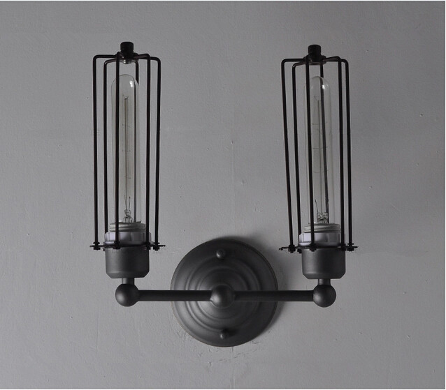 Double Edison Bulb Lamp: Vintage Wall Lamp Iron Double Lamp Edison Bulb, View