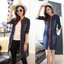 Wholesale OEM Bulk Cheap Factory Apparel Garment spring and summer fashion casual denim dot dress coat 5072 Casual Dresses