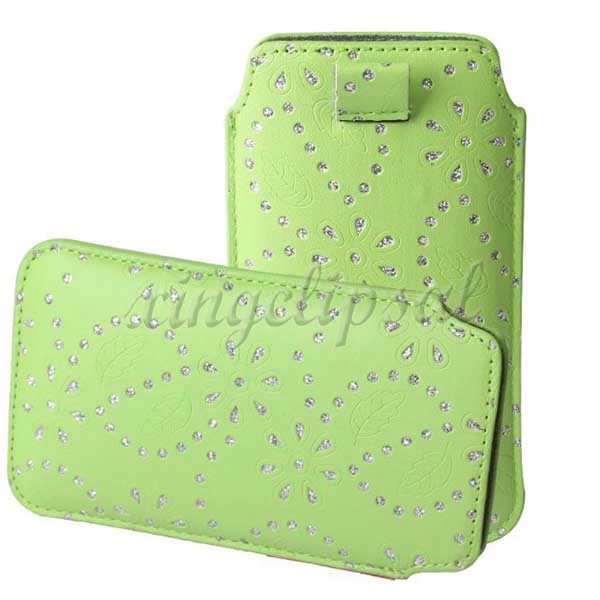 Diamante Cord pull PU leather cover for samsung s5