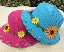 kids children summer beach straw hat