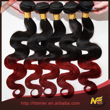 6A Grade Virgin Brazilian hair body wave T1B/BUG# burgundy ombre hair weaves