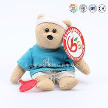 Promotional blue t-shirt teddy bear with hat & custom logo soft toy bear