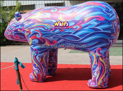 2015 new giant blue inflatable bear with digital printing 2m high 3m length