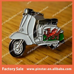 Customized White Vespa Motorcycle with a Dragon Pin Vespa Scooter Pin Badge