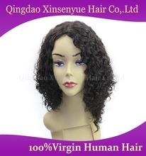 Indian remy hair half hand made wig natural soft Afro curl silk top