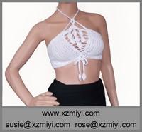 Crochet White lace Bra Crochet halter bikini top Open Back Sexy Bikini Top Hot Open Sex Katrina Kaif Bikini