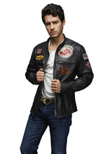 New Design Men Black Leather Jacket Classical Man Punk Jacket Fashion Leather Biker Jacket Made in China