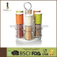 6 in 1 colorful glass cruet/aluminium cap with mini grinder