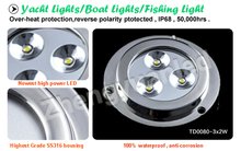 IP68 12V 6W LED marine underwater boat/yacht/pool/dock light with different colors white red green blue yellow