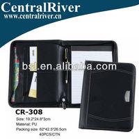 Made in Chain PU Leather Portfolio with Zipper/custom printed 2 pocket presentation folder portfolio