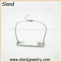 Wholesale fashion bar Engravable cheap unisex name plate personalized bracelet made of stailess steel