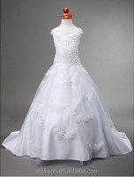 Snow White Girl A Line Appliqued Children Long Wedding Dress
