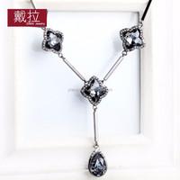 2015 PINPAI Fashion Jewelry black gun plated simple stylish water drop choker necklace 397