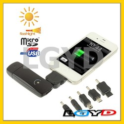 Multi-Purpose Solar Charger (Micro SD / SDHC Reader + Led Lamp + Mobile Phone Charger) for Samsung / HTC / iPhone / Nokia / Moto