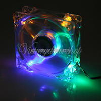 Brand New 4light 80mm Chassis Crystal LED Case Fan For Computer PC CPU Cooling 4 Pins Rainbow
