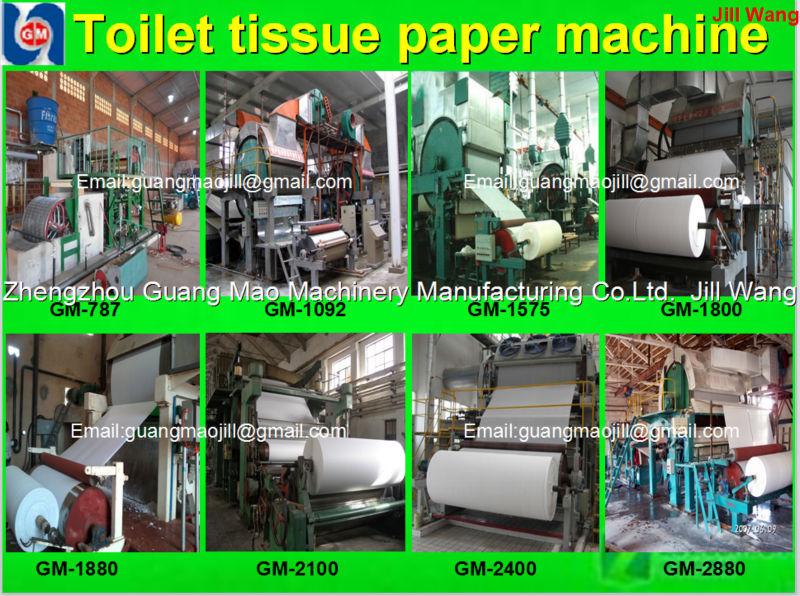 Zhengzhou Guangmao2015 new products 1880mm Toilet/tissue paper making machine,paper machinery,paper recycling machine price
