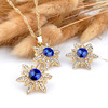 New Fashion Woman Gold Plated Crystal Star Pendant Necklace Earring Jewelry Sets
