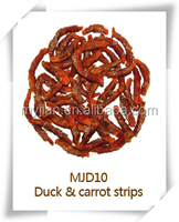 Duck and carrot strips MJD10 pets snacks dry bulk dog training treat food chew natural manufacturers