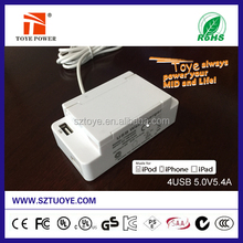 Power supply made in China , 2015 new design usb wall charger 5v 2a with four usb port