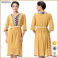 2015 new fashion 3/4 sleeve simple women mother style chiffon dresses for fat women