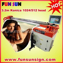 konica head 3.2m digital large format printer for outdoor advertising ( 4 or 8 Konica Minolta 512 42pl, 1440dpi )