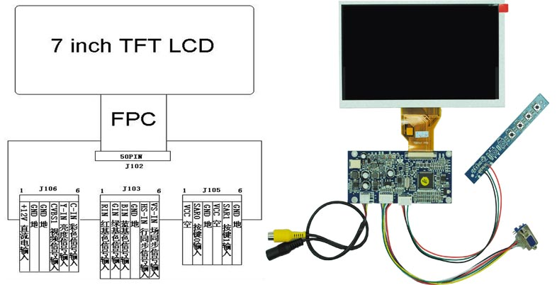 7inch 800x480 vga lcd with ad board cost effective lcd module 7inch 800x480 vga lcd