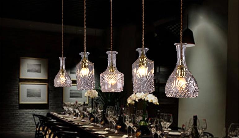 Wodka flasche licht hängen wein lampenglas pendnat lampe kristall ...