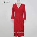 2014 tres cuartos de manga de cuello en v manga larga roja por la noche vestido hecho en china