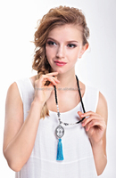 2015 handmade black beads long chain necklace with tassel and big designed pendant