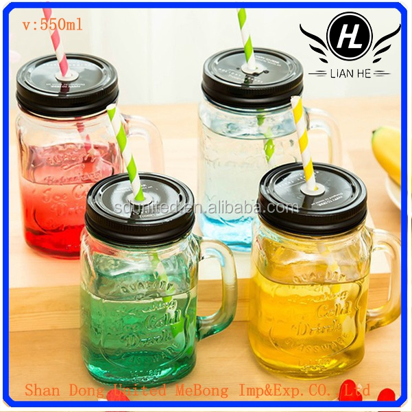 wholesale 550ml glass mason jars drinking glass with handles straw lid buy wholesale glass. Black Bedroom Furniture Sets. Home Design Ideas
