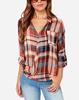 CHEFON Collared v neck long sleeve twisted front women plaid patterned blouses for lady