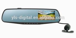 Allwinner A20 chipset rear view mirror DVR dual camera rear view camera for car with video on right side and GPS trackin