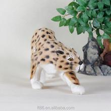 Faux fur artificial life sized wild animal plastic leopard