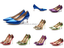 Genuine leather sparkling heels celebrity dress shoes ladies comfortable low heel shoes with 4 color optional