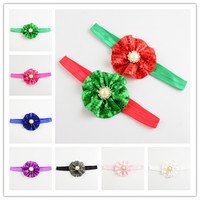 Christmas Items Imported Sequin And Beaded Fabric Top Baby Headbands